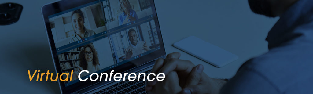 Virtual Conference text over image of multi-person video call in progress