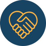 Icon of holding hands forming a heart shape