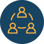 Simplified icon on people working together